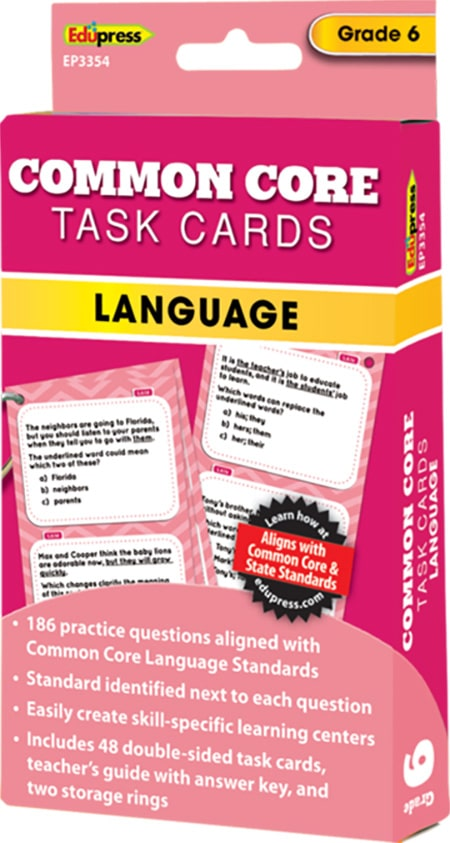 Common Core Language Task Cards: Grade 6-4291