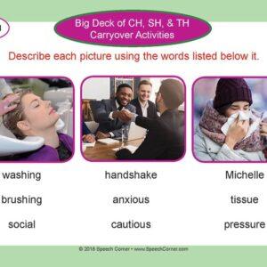 Speech Corner Photo Cards - Big Deck Of CH, SH, & TH Carryover Activities-4949