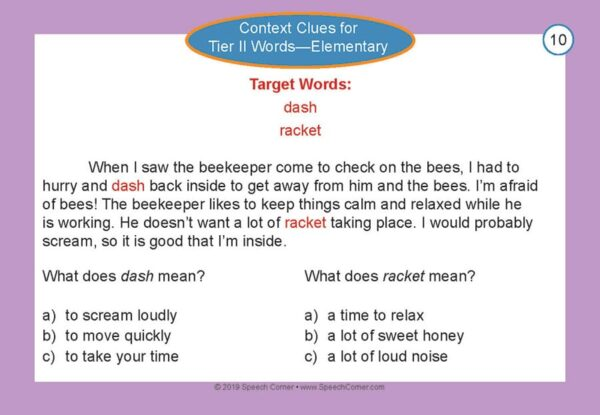 Speech Corner Photo Cards - Context Clues for Tier II Words, Elementary-5137