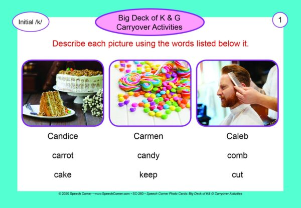 Speech Corner Photo Cards - Big Deck of K & G Carryover Activities-5941