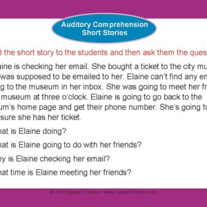Speech Corner Photo Cards For Auditory Comprehension--Short Stories-3120