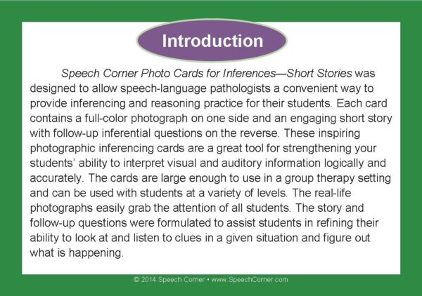 Speech Corner Photo Cards For Inferences--Short Stories-3106